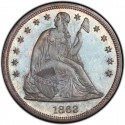 1863 Seated Liberty Silver Dollar