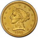 1840 Liberty Head $2.50 Gold Quarter Eagle Coins