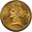 1841 Liberty Head Half Eagles