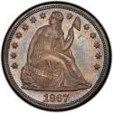 1867 Seated Liberty Silver Dollar