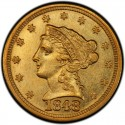 1848 Liberty Head $2.50 Gold Quarter Eagle Coin