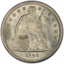1846 Seated Liberty Silver Dollar