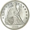 1860 Seated Liberty Silver Dollar