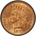 1874 Indian Head Pennies
