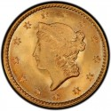 1851 Liberty Head Gold $1 Coin